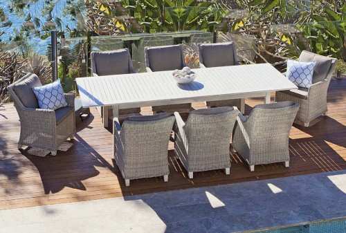 Luxe Toulouse Poly Wicker Outdoor Dining Setting - Buy Outdoor